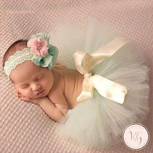 Newborn Tutu First Photos Mint Green Set